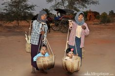 Cute Burmese kids in Bagan Myanmar
