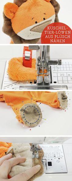 Näh-DIY: Kuscheltier für Kinder nähen, Löwe aus Plüsch / sewing diy: sew a teddy bear, lion, sewing for kids via DaWanda.com