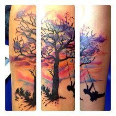 LOVE THIS  Oak tree in watercolor (minus swing)