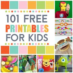 Over 100 FREE Printables for Kids! Everything from coloring pages to puppets, from play food to board games!