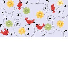 Susybee Fabric Birds birds and flowers blue 1949