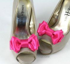 Hot Pink Shoe Clip Hot Pink Bow Shoe Clips by BouquetByRosaLoren, $15.00