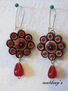 Red& Black Earrings   for more :https://www.facebook.com/neeldeeprangoli