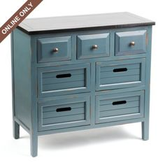 Wood Blue 7-Drawer Chest at Kirkland's.