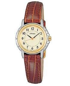 Seiko Watch, Women's Brown Croc-Embossed Leather Strap 24mm SXGA02
