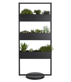 Swedish designer Anya Sebton has created a storage system that doubles as display units for magazines and plants.