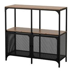 IKEA - FJÄLLBO, Shelf unit, , This rustic metal and solid wood shelf has an open back, so it's easy to arrange cords and access power outlets.A simple unit can be Solid Wood Shelves, Rustic Shelves, Wood Shelf, Cabinet Furniture, Ikea Furniture, Black Furniture, Metal Furniture, Bedroom Furniture, Etagere Metal Ikea