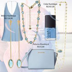 Inspired Kumbayá Joias Serenity Quatz Rose Look blue nude Michael Kors Nars earrings   ear jacket ear cuff