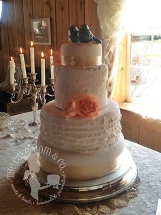 Vintage Lace & Ruffles Wedding Cake by The Cake Mom & Co., via Flickr