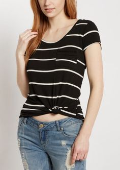 image of Black Striped Crochet Ladder Tee