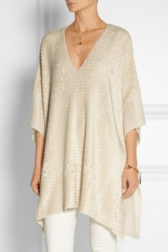 Donna Karan New York | Silk and cashmere-blend chenille poncho | NET-A-PORTER.COM