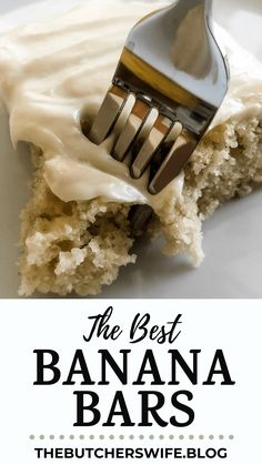 The BEST Banana Bars you will ever eat! Sweet, moist and full of delicious banana flavor with a smooth cream cheese frosting Banana Brownies, Banana Bars, Easy Banana Bread, Apple Bread, Cake Bars, Dessert Bars, Dessert Ideas, Yummy Treats, Delicious Desserts