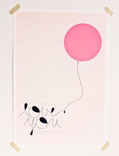 love you ballon rose Printed Balloons, Pink Balloons, Illustrations, Illustration Art, Art Minimaliste, Paper Artwork, Poster Prints, Art Prints, Love You