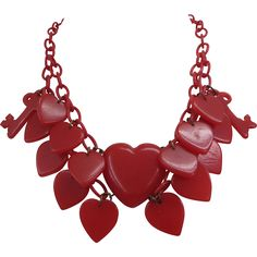 Rare Vintage 1930s Red Bakelite Hearts And Keys Necklace