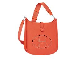 """Evelyne Hermes shoulder bag in taurillon clemence leather (size GM) Color : poppy orange Silver and palladium plated hardware. Adjustable strap from 36"""" to 52"""" , outside pocket, leather tab closure, perforated leather plaque. Measures 13"""" x 12"""" x 3"""""""