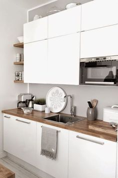 Do you want to have an IKEA kitchen design for your home? Every kitchen should have a cupboard for food storage or cooking utensils. So also with IKEA kitchen design. Here are 70 IKEA Kitchen Design Ideas in our opinion. Hopefully inspired and enjoy! Grey Kitchens, Cool Kitchens, White Kitchens Ideas, Small Kitchens, Scandinavian Kitchen, Scandinavian Design, Scandinavian Chairs, New Kitchen, Interior Design Kitchen