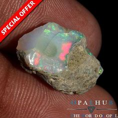 6.60 Cts 100% Natural Ethiopian Welo Fire Opal Rough Facet Play of Color 3355