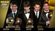Messi, fourth FIFA Ballon d'Or in a row