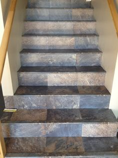 Ever wonder what stair nosings for Mannington Adura looks like on actual stairs? Thanks to Brennen's Carpet in Jerome, Idaho for providing the picture. Tiled Staircase, Tile Stairs, Flooring For Stairs, Staircase Remodel, Wooden Stairs, Basement Flooring, House Stairs, Carpet Stairs, Flooring Ideas