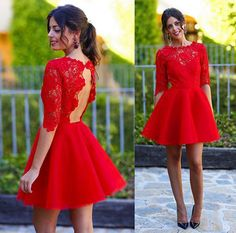 Hot Sales Red Lace Short Prom Dresses, Homecoming Dresses,Cocktail Dresses,O-neck Backless Half Sleeves Sexy Prom Dress