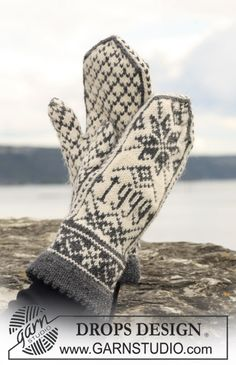 """Knitted DROPS mittens with pattern in """"Karisma"""". Yarn alternative """"Merino Extrafine"""". ~ DROPS Design"""