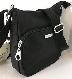 b23814047d Details about NEW BAGGALLINI Small Crossbody Shoulder Bag Gray Nylon Top  Zip +Front Zip Pouch