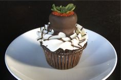Chocolate Cupcake with Strawberry Topper from Bread Winners Cafe and Bakery in Dallas, TX