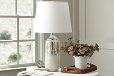 Mercury glass lamp with white lampshade