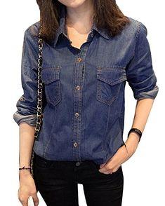 841560af7c1e Damen Jeansmantel Jeansjacke Übergangsjacke Leichte Jacke Knopfverschluss Denim  Jacket Blau S - Jeansjacke frauen jeansjacken damen