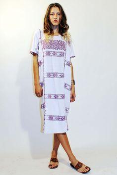 Loose Gautemalen Cream and Purple Dress