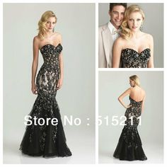 Beautiful Beaded Appliques Sweetheart Nude And Black Mermaid Prom Dresses 2014 New Evening Party Gowns US $189.99