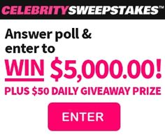 Answer Poll and WIN $5,000.00! PLUS DAILY GIVEAWAY >>> http://pointclicktrack.com/click/track/p/5344/c/147688/s1/ #sweepstakes