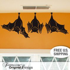 Animal Wall Decal: Cute Hanging Bats, not just for Fall Decorations, Hanging Bats Wall Decal, Decorations Indoors Outdoors Paper Cutting, Hanging Bat, Cute Bat, Animal Wall Decals, Gothic House, Gothic Fashion, Women's Fashion, Almost Always, After Dark