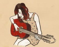 Illustration guitar playing girl Editorial illustration Music/guitar Illustratie meisje met gitaar evelinevanparys.com
