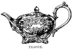 Clip Art, Black And White Graphics, Vintage Tea Pot Printable, Antique   #0 Inspiration Ideas