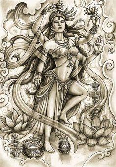 dibujo a lapiz 8 by hcvargass. on dibujo a lapiz 8 by hcvargass.deviant… on dibujo a lapiz 8 by hcvargass. Krishna Tattoo, Kali Tattoo, Shiva Tattoo Design, Buddhist Symbol Tattoos, Hindu Tattoos, Asian Tattoos, Shiva Art, Hindu Art, Side Back Tattoos
