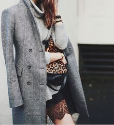 {style inspiration | at the office : wool tweed & black lace} |