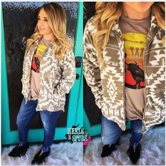 ⭐️⭐️RESTOCK⭐️⭐️ NEW ARRIVAL Lovely Aztec Jacket $49 Sizes(S-L) **FREE SHIPPING** Purchase Here >> https://www.heelsnspurs.com/collections/outerwear/products/lovely-aztec-jacket Tee $29>> https://www.heelsnspurs.com/collections/tops/products/go-west-vintage-long-sleeve