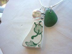 Sea Glass Necklace Beach Sea Pottery Shard Green Floral Pendant