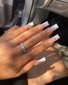 White French Tip, French Tip Acrylic Nails, Graduation Nails, Nail Inspo, Hair Goals, Makeup Looks, Make Up, Feminine, Nail Art