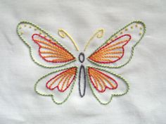 """Kelly Fletcher of materialistic has started a new free-pattern series–""""six butterflies,"""" she says, """"with a hint of summer in the colourway. Embroidery Patterns Free, Hand Embroidery Stitches, Hand Embroidery Designs, Machine Embroidery, Knitting Patterns, Sewing Patterns, Butterfly Embroidery, Butterfly Pattern, Embroidered Butterflies"""