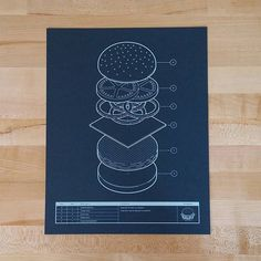 Burger Blueprint handmade screen print | Etsy