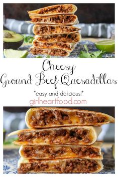 These ground beef quesadillas are jam packed with flavourful beef and lots of cheese. These ground beef quesadillas are jam packed with flavourful beef and lots of cheese. They're super easy to make and disappear fast! Beef Recipes For Dinner, Ground Beef Recipes, Meat Recipes, Mexican Food Recipes, Cooking Recipes, Indian Recipes, Healthy Recipes, Tex Mex, Ground Beef Quesadillas
