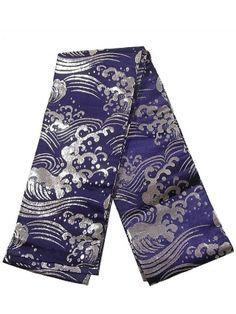 Silver Wave Navy Obi ~Ichiroya: Kimono Flea Market