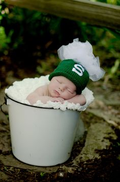 Hand Knit Baby Girls Michigan State University Spartans Green and White Tutu Hat - Ready to Ship. $21.99, via Etsy.