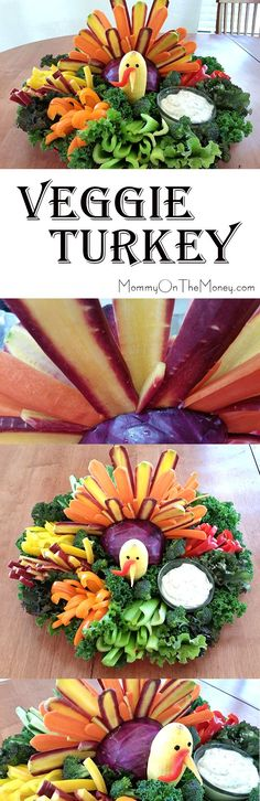 How to make a turkey out of vegetables for the cutest Thanksgiving veggie platter ever!