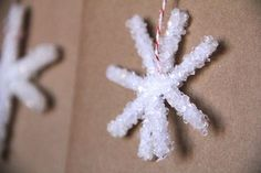 Borax snowflakes: easy kids DIY craft for Christmas and/or winter.