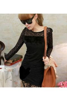$20.99 Lace Rabbit Hair Splicing Long Sleeve Black Dress @MayKool