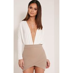 Gabriella Taupe Asymmetric Mini Skirt-6 ($13) ❤ liked on Polyvore featuring skirts, mini skirts, brown, pink mini skirt, short brown skirt, mini skirt, taupe skirt and textured skirt