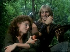 Judi Trott as Marion of Leaford and Jason Connery as Robert of Huntingdon (Robin Hood) in Robin of Sherwood Fantasy Films, Sci Fi Fantasy, Jason Connery, Wolf's Head, Men Tv, Cartoon Tv, Favorite Tv Shows, Robin, Movie Tv